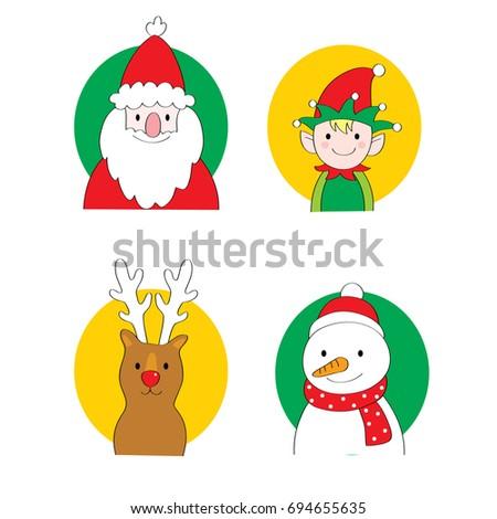 Cartoon cute Christmas set vector.