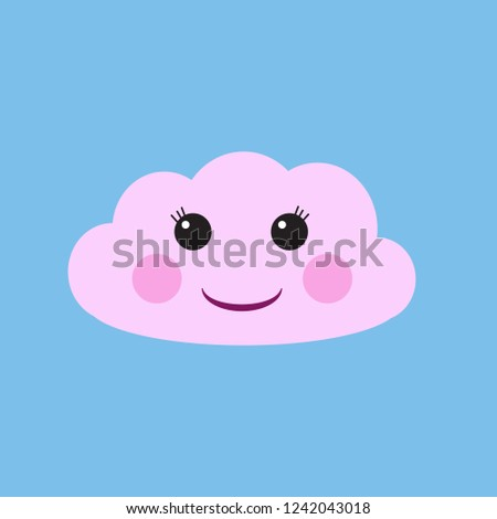 Cartoon cute cloud vector illustration
