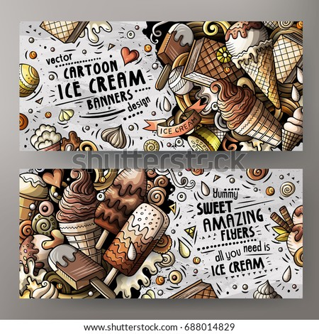 Cartoon cute colorful vector doodles ice cream corporate identity. 2 horizontal banners design detailed with lots of separated objects. Templates set