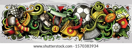 Cartoon cute colorful vector hand drawn doodles Football composition. horizontal banner design. All objects separate