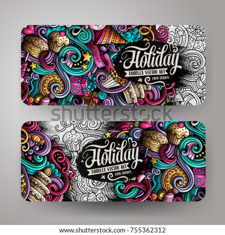 Cartoon cute colorful vector hand drawn doodles holidays corporate identity. 2 horizontal banners design. Templates set