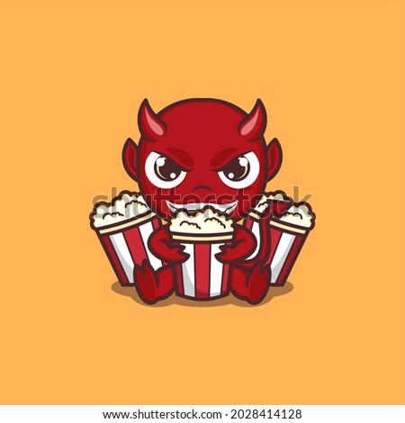 cartoon cute devil with popcorn