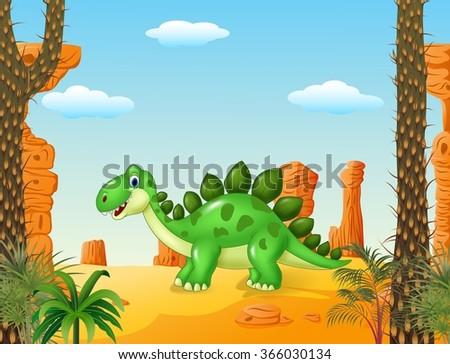cartoon cute dinosaur with the