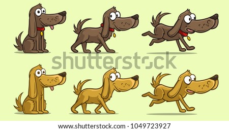 Cartoon cute dog in different positions with red collar. Sitting, walking and running. Vector icon set.