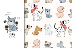 Cartoon cute dogs characters. Animal card and seamless pattern set. Tee print hand drawn illustration. Surface design