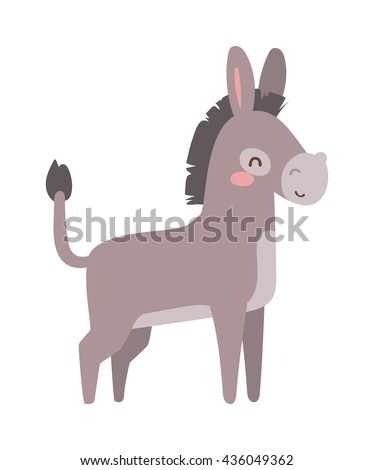 cartoon cute donkey and cute