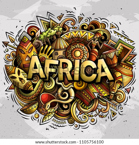 Cartoon cute doodles Africa word. Colorful illustration. Background with lots of separate objects. Funny vector artwork