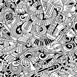 Cartoon cute doodles Classical music seamless pattern. Line art, detailed, with lots of objects background. All elements separate. Backdrop with musical instruments objects