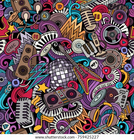 Cartoon cute doodles Disco music seamless pattern. Colorful detailed, with lots of objects background. All elements separate. Backdrop with musical objects