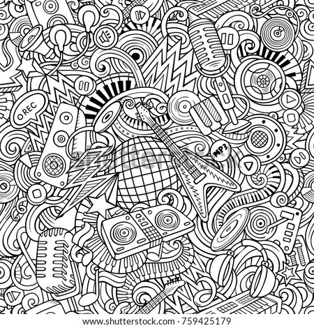 Cartoon cute doodles Disco music seamless pattern. Line art, detailed, with lots of objects background. All elements separate. Backdrop with musical objects