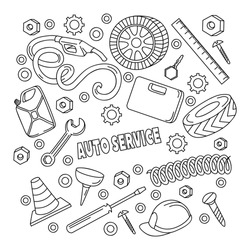 Cartoon cute doodles hand drawn Auto service illustration. Sketch vector detailed