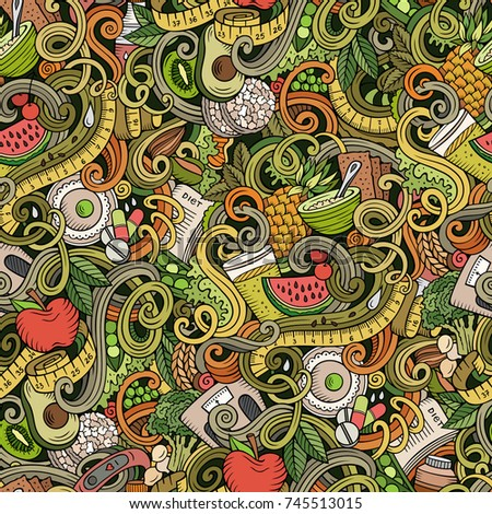 Cartoon cute doodles hand drawn Diet food seamless pattern. Colorful detailed, with lots of objects background. Endless funny vector illustration