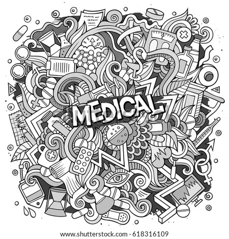 Cartoon cute doodles hand drawn Medical illustration. Line art detailed, with lots of objects background. Funny vector artwork. Contour picture with Health theme items