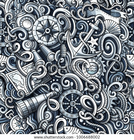 Cartoon cute doodles hand drawn Nautical seamless pattern. Monochrome detailed, with lots of objects background. Endless funny vector illustration with Marine symbols and items