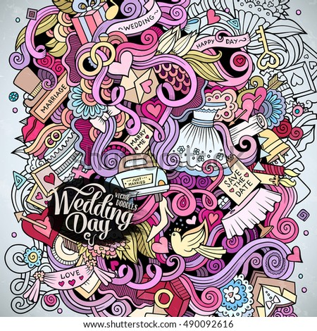Cartoon Cute Doodles Hand Drawn Wedding Illustration Colorful Detailed With Lots Of Objects Background