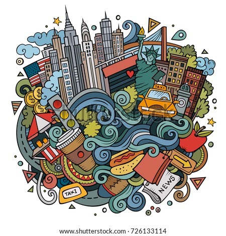 Cartoon cute doodles hand drawn Welcome to New York illustration. Colorful detailed, with lots of objects background. Funny vector artwork
