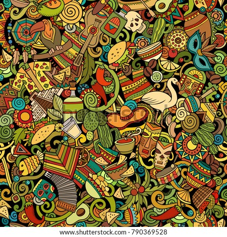 Cartoon cute doodles Latin America seamless pattern. Colorful detailed, with lots of objects background. All objects separate. Backdrop with latinamerican symbols and items
