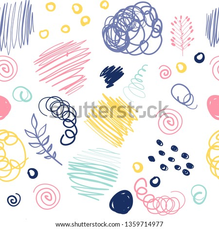 Cartoon cute doodles Space seamless pattern. Line art detailed, with lots of objects background. All objects separate. Backdrop with plant, leavs symbols and items