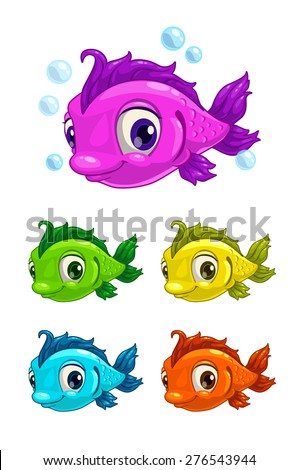 cartoon cute fish  different