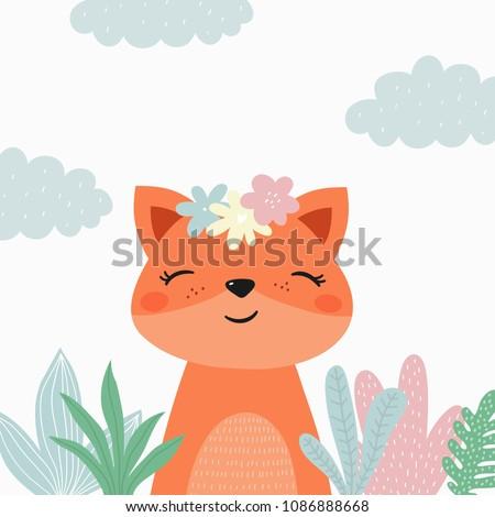 Cartoon cute fox illustration. Be wild, be brave
