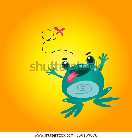 Stock Photo cartoon cute frog jump to catch butterfly yellow background