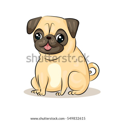 cartoon cute funny vector pug