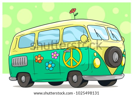 Cartoon cute green retro van or bus with flower on roof and yellow peace sign. Vector icon.