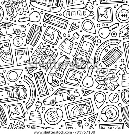 Cartoon cute hand drawn Automotive seamless pattern. Illustration with lots of elements. Endless funny vector background