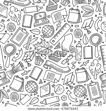 Cartoon cute hand drawn Back to school seamless pattern. Sketchy detailed, with lots of objects background. Endless funny vector illustration. Line art backdrop with education items.
