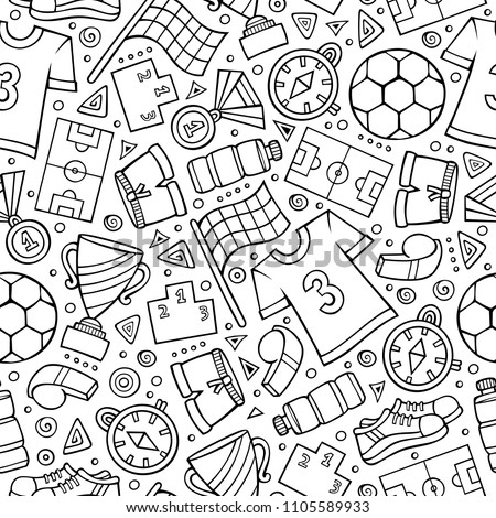 Cartoon cute hand drawn Sport seamless pattern. Colorful detailed, with lots of objects background. Endless funny vector illustration