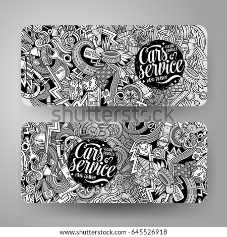 Shutterstock Cartoon cute line art vector hand drawn doodles Aautomobile corporate identity. 2 horizontal banners design. Templates set
