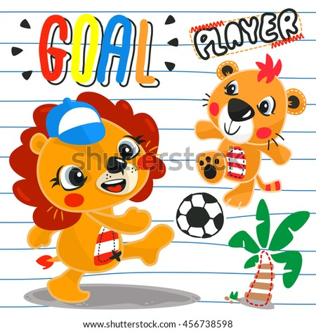cartoon cute lion and tiger