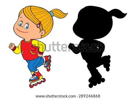Young Girl On Rollerblade Illustration Download Free Vector Art