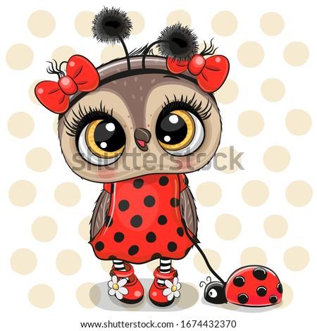 Cartoon Cute Owl girl in a ladybug costume and ladybug