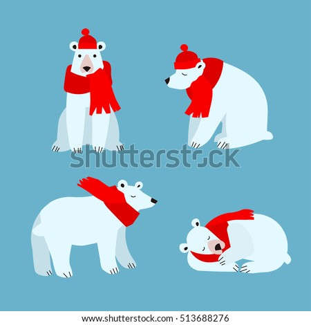 cartoon cute polar bear animal
