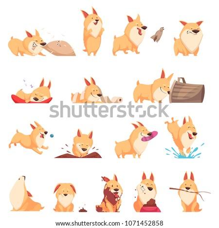 cartoon cute puppy set of