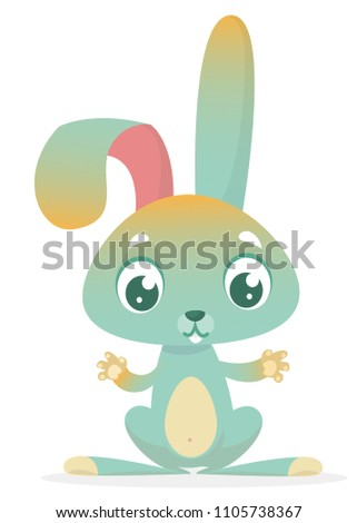 Cartoon cute rabbit with big ears. Farm animals. Vector illustration