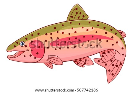 cartoon cute rainbow trout