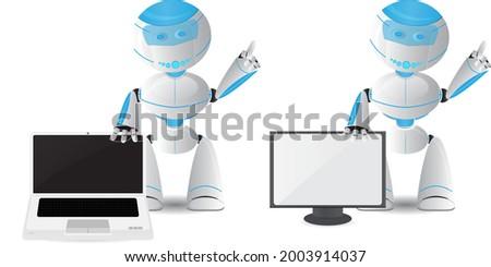 cartoon cute robot hold laptop komputer Zdjęcia stock ©