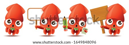 Cartoon cute squid with bowtie mascot set, cute squid holding big white/wooden signboards, taking order with pencil and notebook. - Vector mascot set