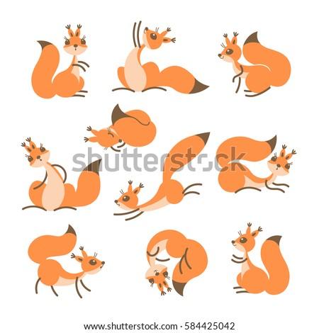 cartoon cute squirrel little