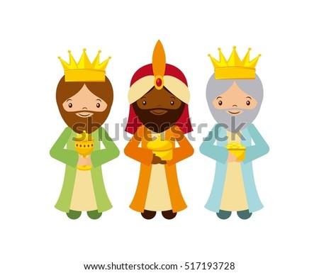 cartoon cute three wise men
