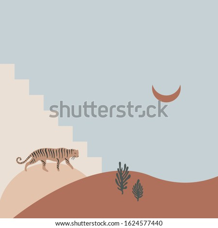 cartoon cute tiger and moon in