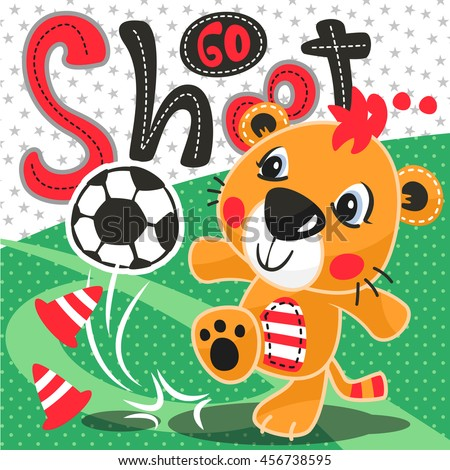 cartoon cute tiger soccer