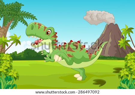 cartoon cute tyrannosaurus