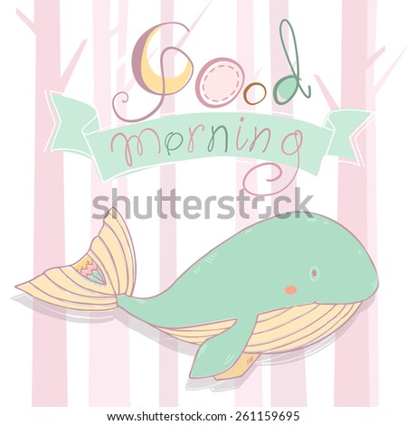 cartoon cute whale says good