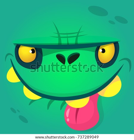 Cartoon cute zombie face showing tongue. Vector zombie monster square avatar