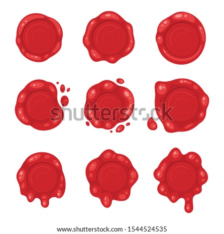 Cartoon 3d red old wax stamps vector icons.  Empty seals symbol of quality, warranty and security. Sealing label set.
