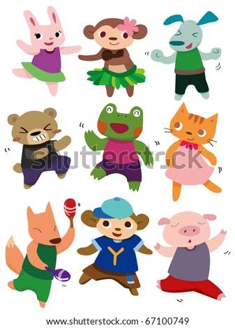 cartoon dancing animal