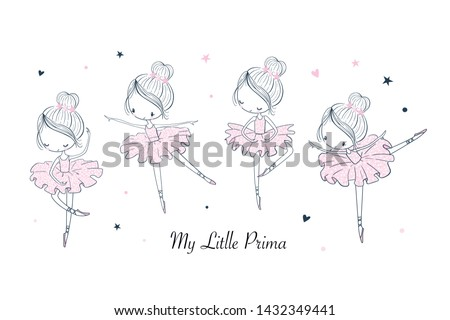 Cartoon dancing ballerina in a shiny skirt illustrations doodle set. Sketch line isolated design elements. Vector clipart. Use for print, surface design, fashion wear, baby shower Stockfoto ©